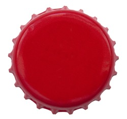 A red metal bottle cap used on glass bottles. Shot directly above, isolated on white background.