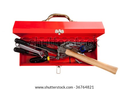 A red metal toolbox with assorted tools on a white background with copy space, Handy man theme
