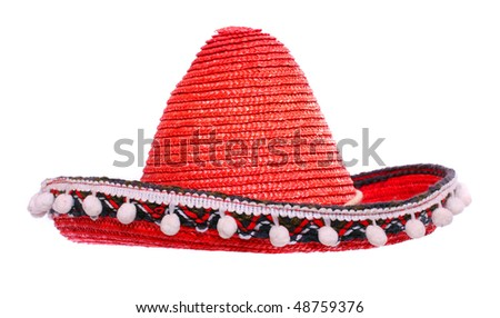 A red mexican sombrero on a white background.