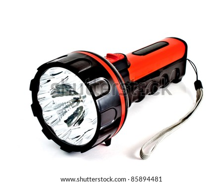 a red modern torch on white background