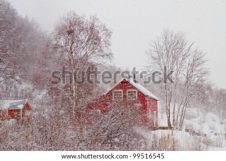 A red Norwegian house in a snow blizzard