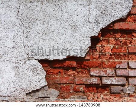 a red old brick masonry - stock photo