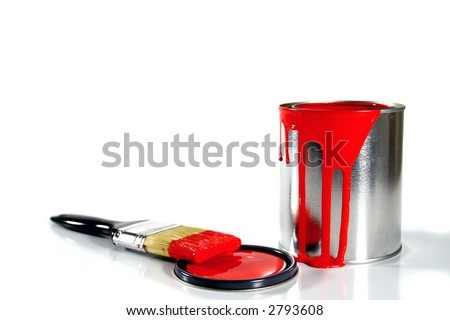 a red paint bucket and brush