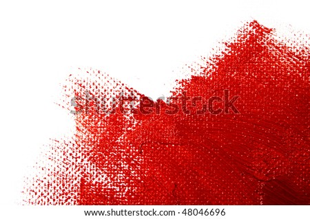 a red paint on a white background