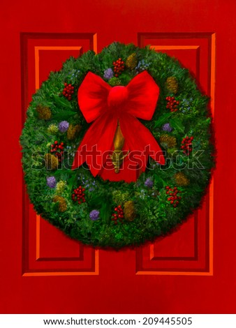 A red paneled door has a green wreath decorated with berries, pine cones and a red bow in an acrylic painting.
