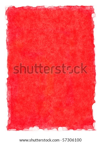 A red paper background with watercolor edges.