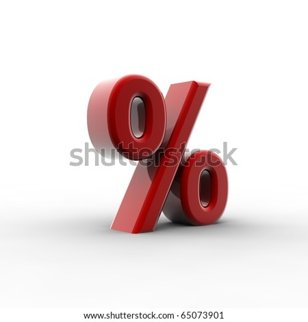 A red percentage shape isolated on a white background