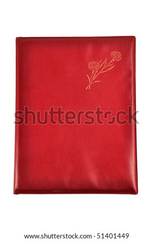 A red photo album isolated on white background
