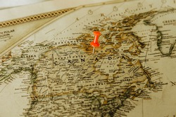 A red pin on Canada of the World Map, Travel concept