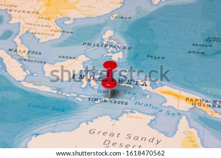 A Red Pin on Timor-Leste of the World Map Stock fotó ©