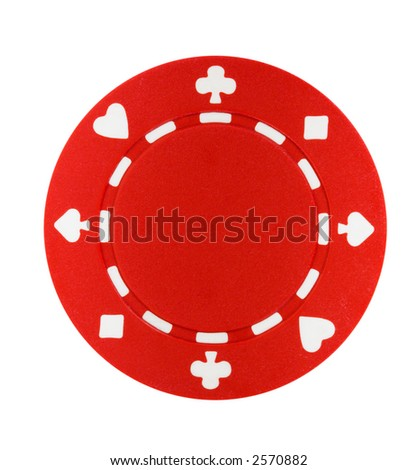 A red poker chip isolated on a white background