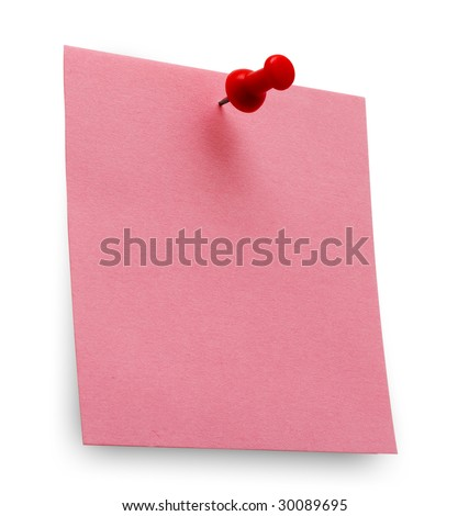 A red posit note with spin isolated