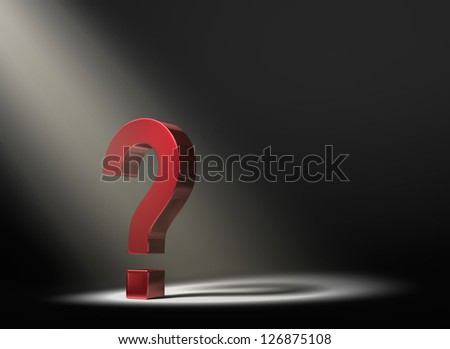 A red question mark in the dark lit by a single, yellow spotlight.