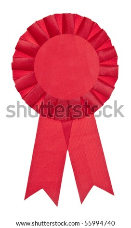 A red ribbon is a symbol for success and first prize. Isolated on White with a Clipping Path.