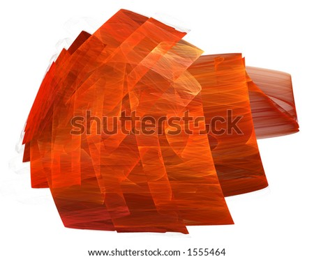 A red, rippled, ribbon-like, three dimentional form isolated on a white background.