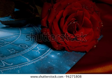 a red rose over blue astrological chart