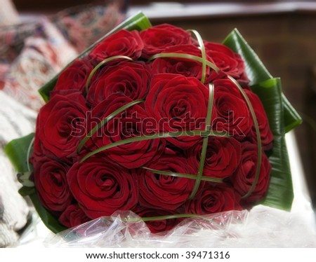stock photo A red rose wedding bouquet