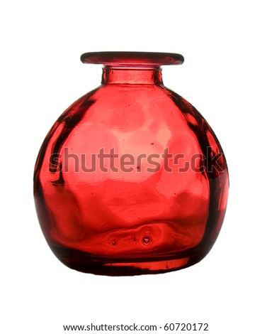 A red round glass vase isolated on white; sphere shape.