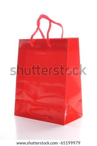 a red shopping bag isolated on white background