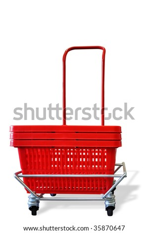 a red shopping basket on rolls on a white background - stock photo
