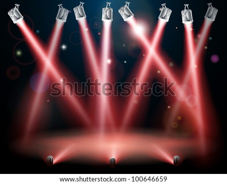 A red spotlight background concept with lots of lights like spotlights in a light show or during a dramatic theatre stage performance