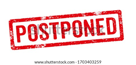 A red stamp on a white background - Postponed Stockfoto ©