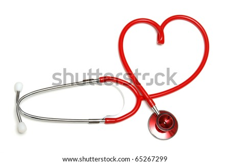 A red stethoscope forming the shape of a heart.