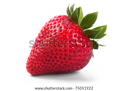 a red strawberry on white background exempt