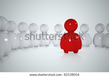 A red stylized human surrounded by a lot of white men