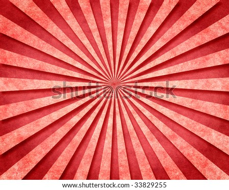 A red sunbeam pattern on vintage paper with a 3-D look. - stock photo