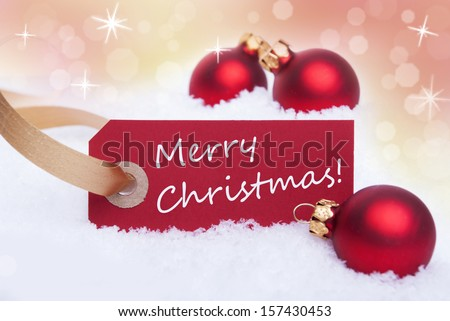A Red Tag with a White Merry Christmas on It as Christmas Background #157430453