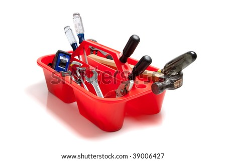 A red tool tray full of tools