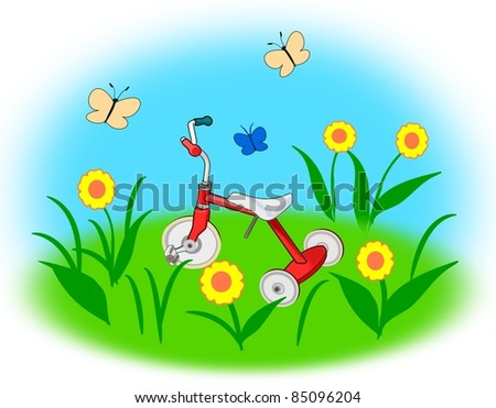 A red tricycle on a meadow with  yellow flowers.
