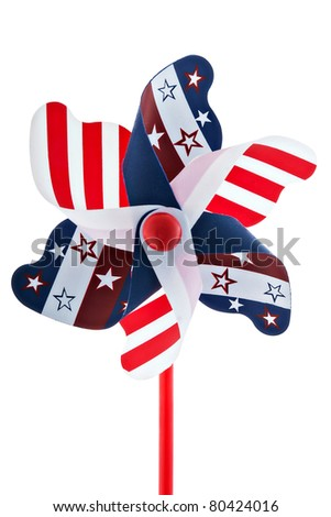 A red, white and blue pinwheel