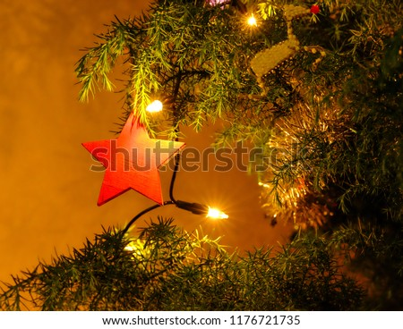 a red wooden star decoration hangs in a christmas tree with christmas lights 1176721735 - African Christmas