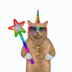 A reddish cat unicorn in sunglasses holds a magic wand. White background. Isolated.