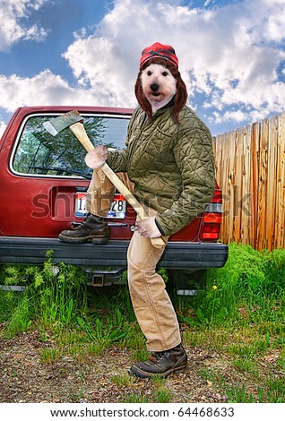 a redneck dog with an axe in his hands