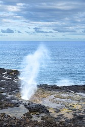 A reef in Kauai Hawaii hosts a blow hole that when swells hit, water spouts out of the hole high into the air.