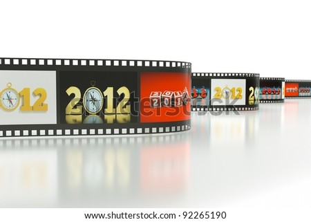 a reel of film with pictures of 2012 year as a concept background