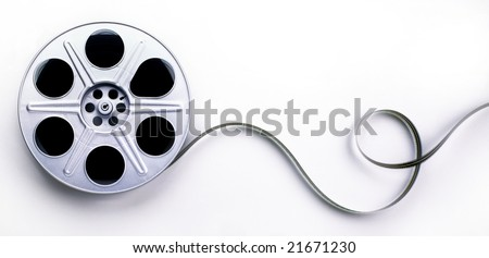 A reel of 35mm motion picture film on a white background