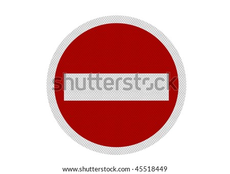 A reflective, metallic 'no entry' sign, isolated on a pure white background. Perfectly circular.