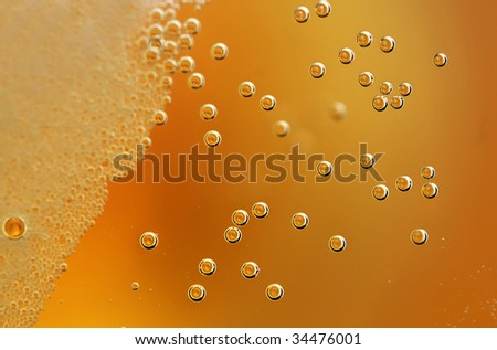 A refreshing lager with detail on the bubbles.