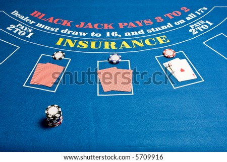 A regular blackjack table