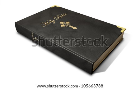 A regular christian holy bible in black leather with a gold title and crucifix - stock photo