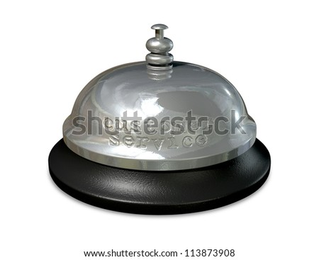 A regular metal and plastic hotel or service bell with the words customer service punched into the metal