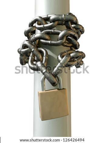 A regular metal chain wrapped around a pole with the ends secured with a padlock on an isolated background