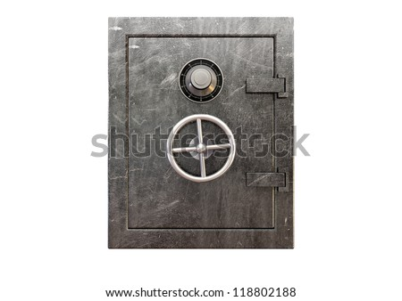 A regular metal safe with a combination dial and a handle on an isolated background