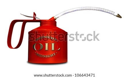 A regular oil can with an embossed brass logo naming the product midnight oil on a white background
