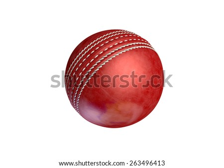Stock Photo A regular red leather cricket ball on an isolated dark background