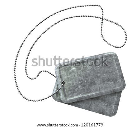 A regular set of blank military dog tag identity tags attached to a chain on an isolated background
